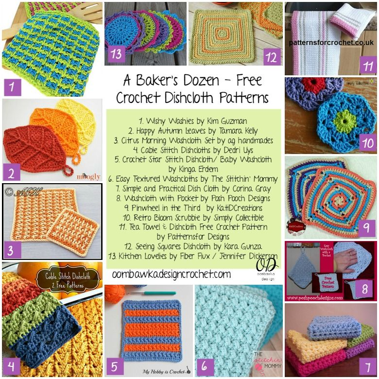 20 Free Patterns for Crochet Dishcloths   Agarraderas, Apoyar y Vasos