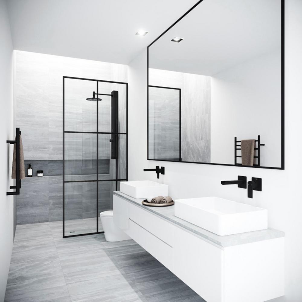 Photo of VIGO Ventana 34 in. x 74 in. Framed Fixed Shower Door in Matte Black without Handle