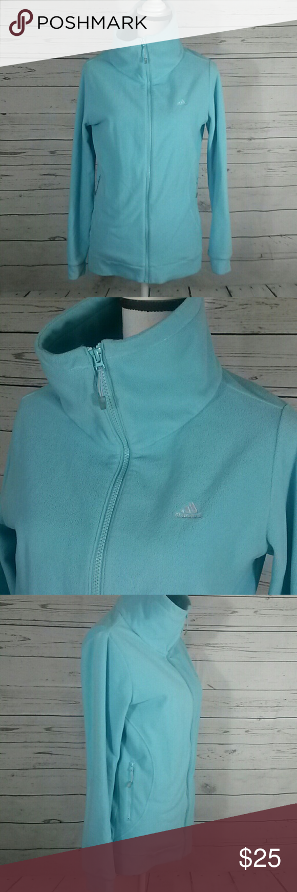 Adidas zip up fleece jacket baby blue size medium my posh picks