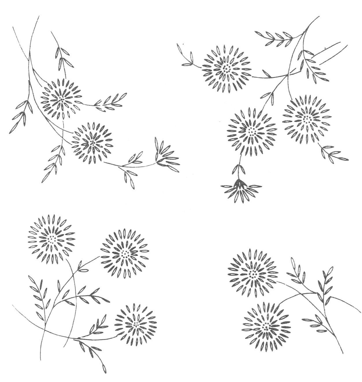 Vintage visage iron on embroidery transfer daisy style flower sprigs
