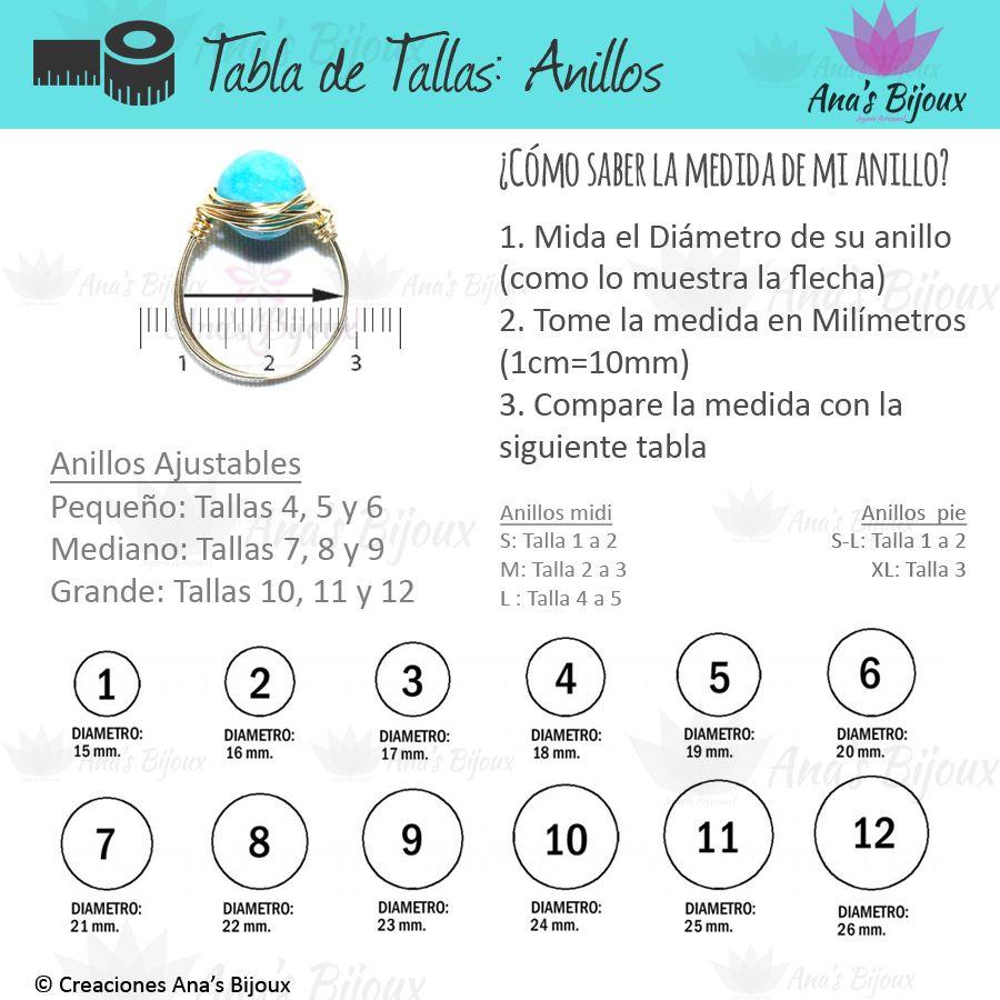 Guía De Tallas Medida De Anillos Tabla De Medidas Anillos Midi
