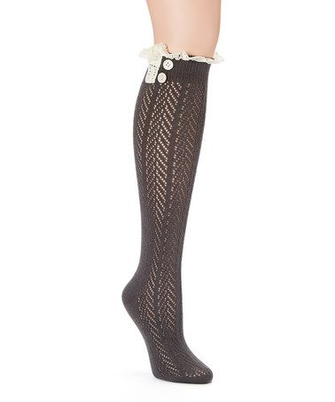 Loving this Dark Gray Pointelle Lace Knee-High Socks on #zulily! #zulilyfinds
