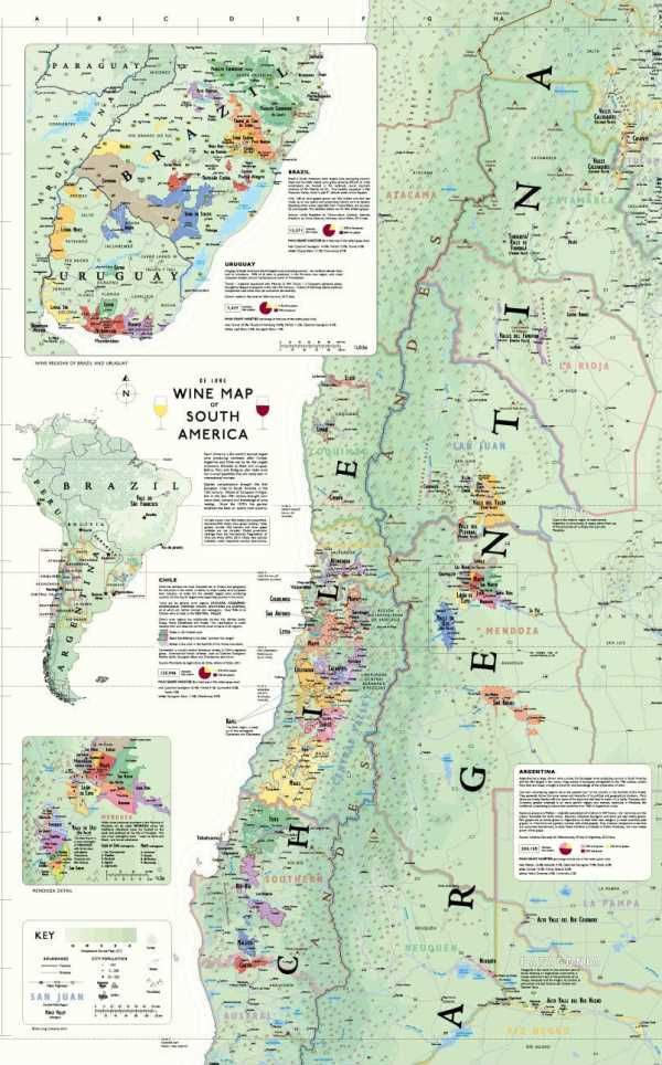 Wine map of south america south america wines and wine facts wine map of south america including argentina chile brazil and uruguay 24 gumiabroncs Image collections