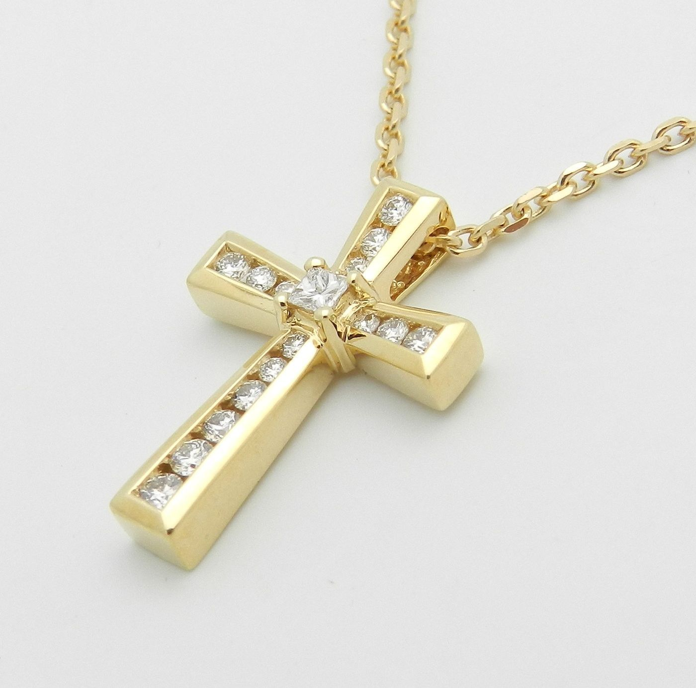 Princess Cut Diamond CROSS Pendant Necklace Religious Charm 14K