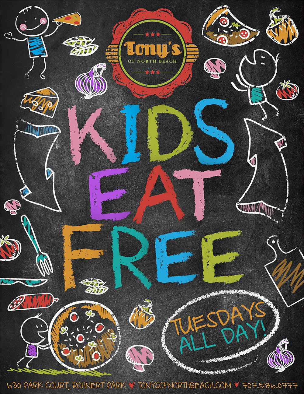 Poster design for free - Tony S Of North Beach Kids Eat Free Poster Designing The Poster On How A