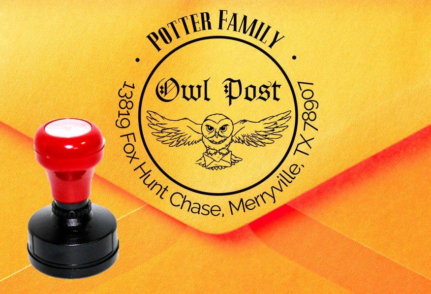 Owl Post Stamp Harry Potter Stamp Custom Address Stamp Faux Etsy Custom Address Stamp Post Stamp Address Stamp