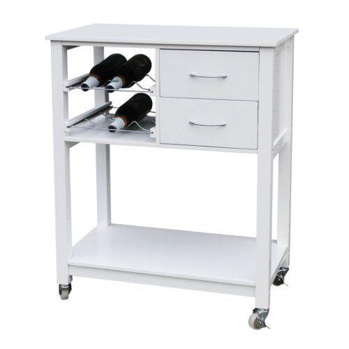 premier housewares 2402179 carrello da cucina con finitura bianca 86x70x40 cm