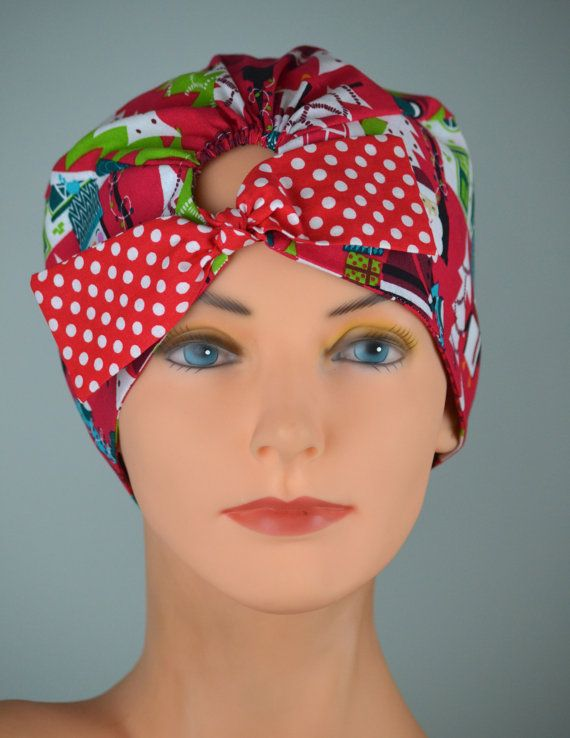 61b8c8b6d59 Christmas Scrub Hats For Women TOP TIE by thehatcottage on Etsy  (Accessories