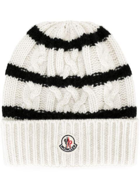 da477622bb2 MONCLER Striped Knitted Beanie Hat.  moncler  hat