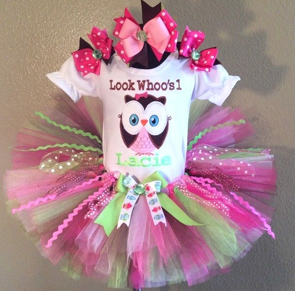 Brown Lime Pink Owl Girls 1st Birthday Tutu Outfit