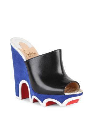 CHRISTIAN LOUBOUTIN Mulacramp 140 Leather Wedge Mules. #christianlouboutin # shoes #sandals