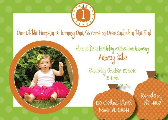 First Birthday Invitation For Pumkin Halloween Theme