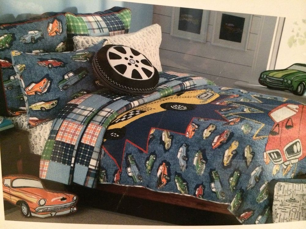 Authentic Kids VINTAGE CAR Bedding TWIN QUILT Sham Pillow