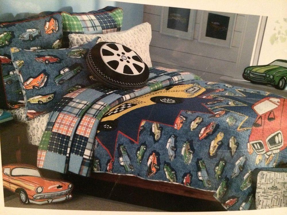 Authentic Kids Vintage Car Bedding Twin Quilt Sham Pillow Set Nwt