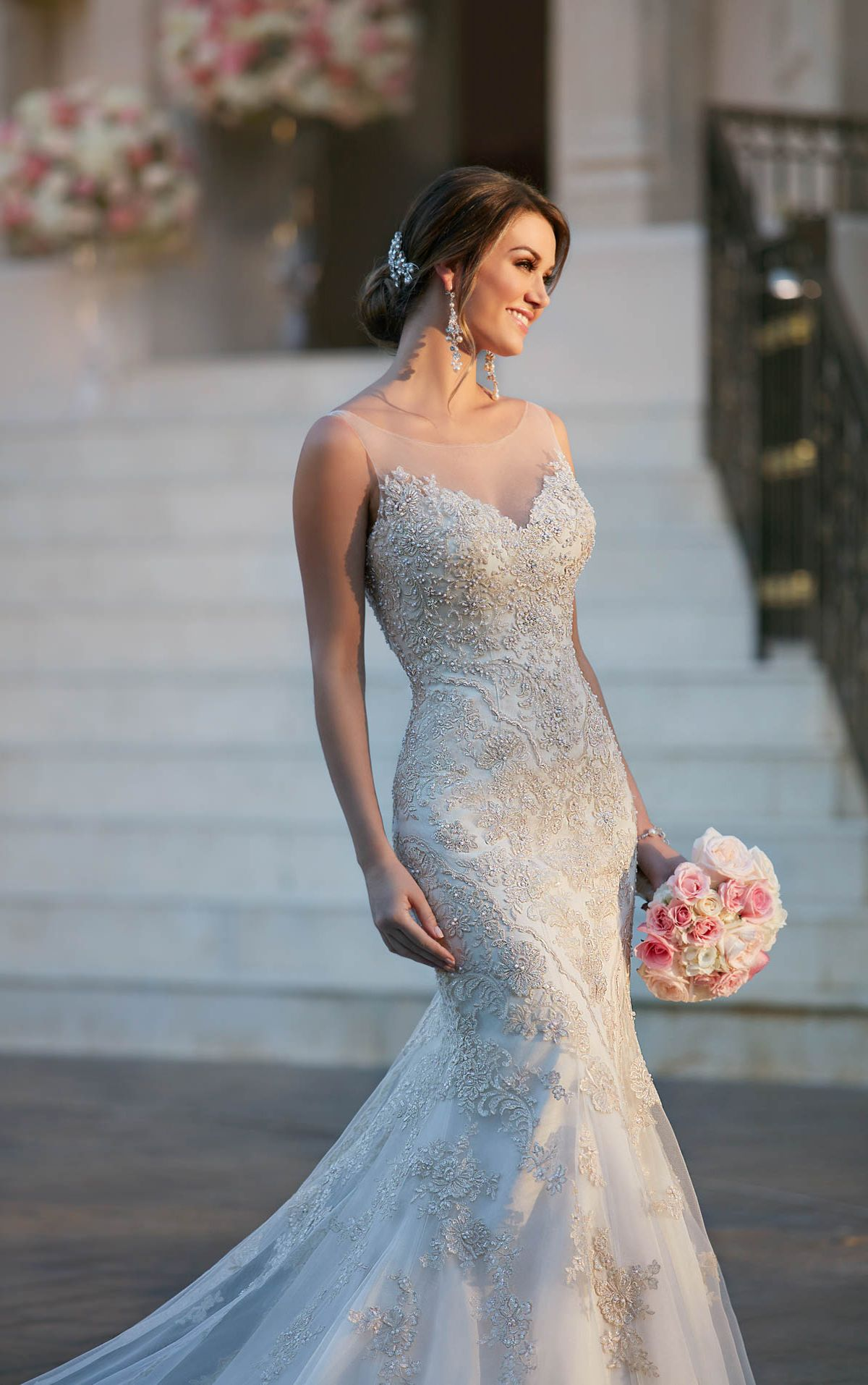 Fit and flare wedding dress with illusion neckline - Stella York ...