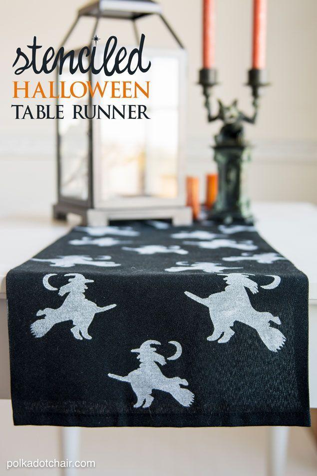 Stenciled Halloween Table Runner Halloween table runners - halloween diy decoration