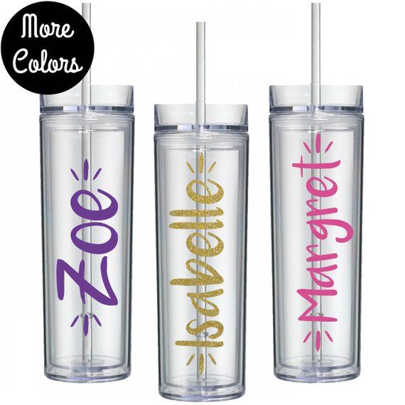 Personalized Tumbler Custom With Straw Bridesmaid