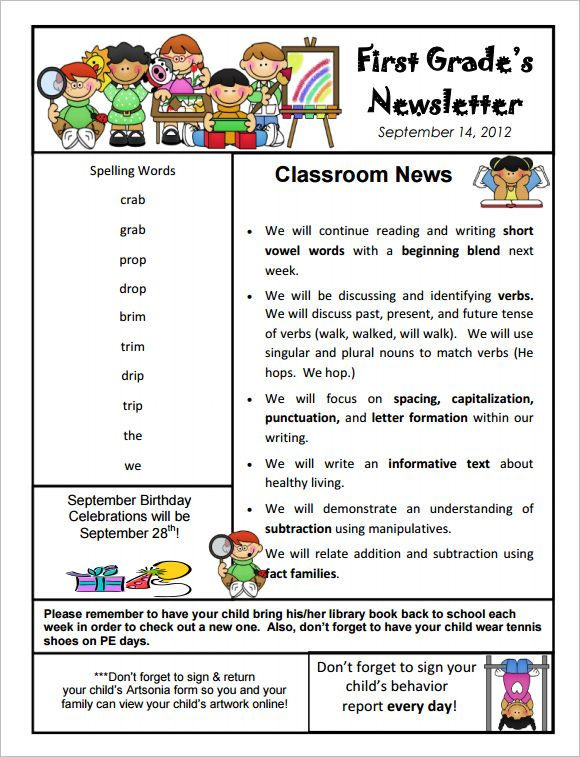 9+ Kindergarten Newsletter Templates - Free Sample, Example - example news letter