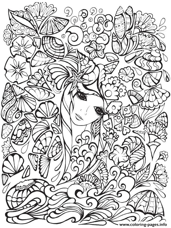 Print Creative Haven Fanciful Faces Adults 1 coloring pages Free
