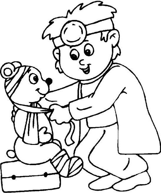Doctor Hospital Coloring For Kids Community helpers
