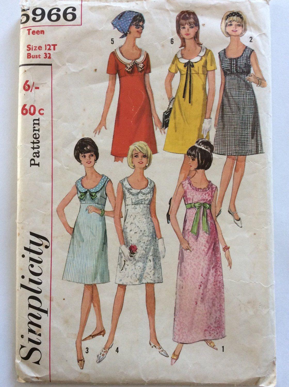 1960s empire bodice shift dress or maxi Simplicity 5966 vintage ...