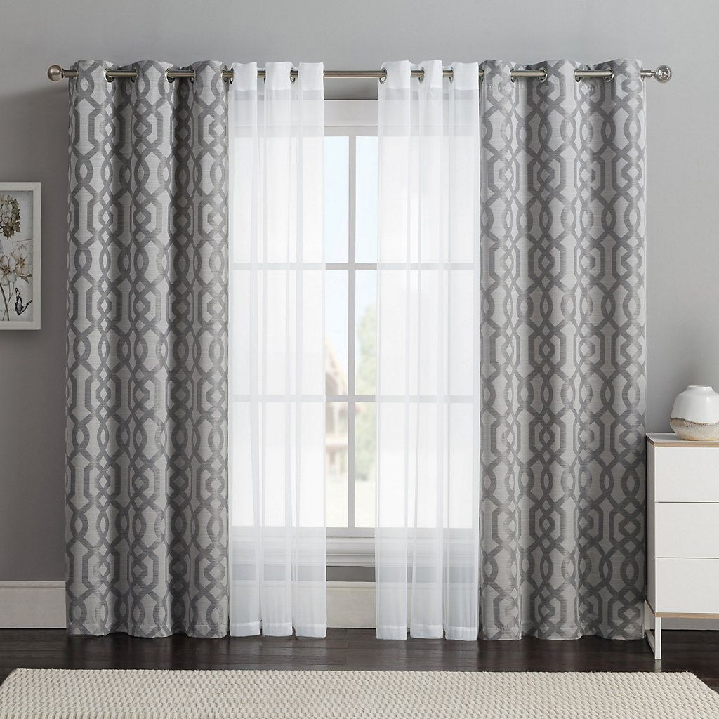 Vcny 4 Pack Barcelona Double Layer Curtain Set Curtains Living