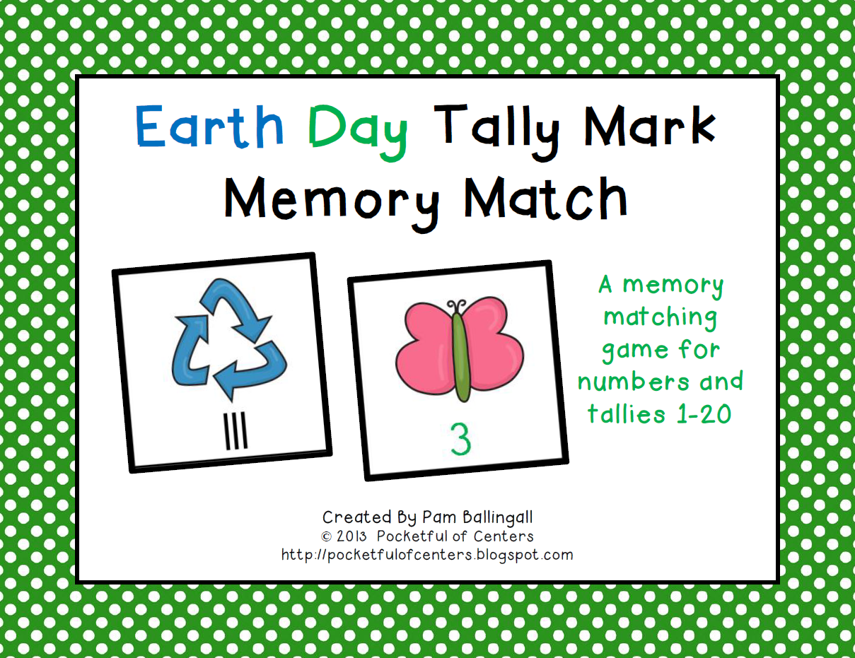 Earth Day Tally Mark Memory Match Game