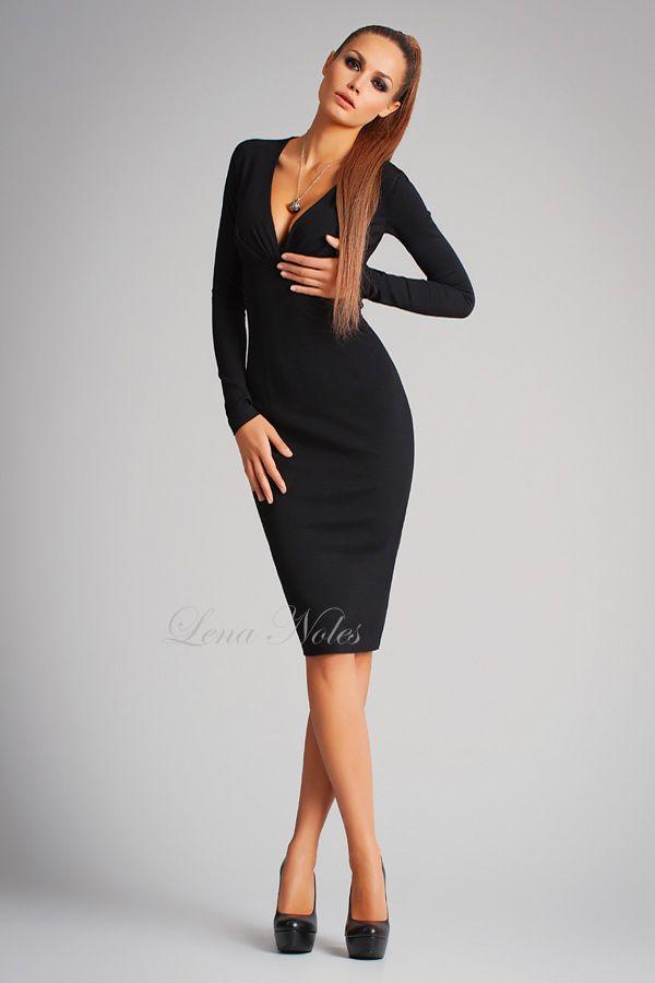 d143d5871145 Черное платье с декольте и длинным рукавом | Style в 2019 г ...