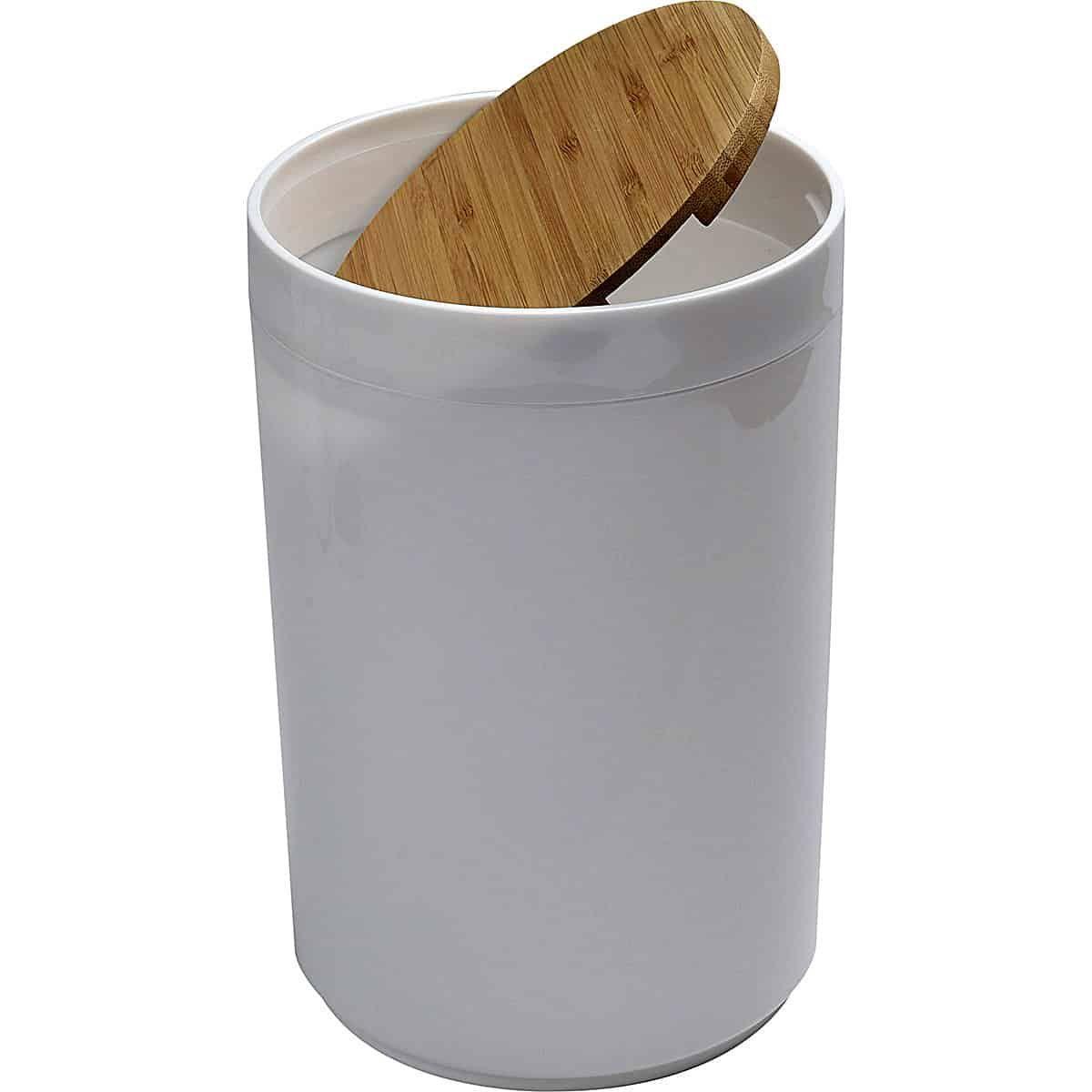 Round Bathroom Floor Trash Can Padang Waste Bin Bamboo Top Swing Lid Plastic 5 Liters 1 3 Gal Nel 2020
