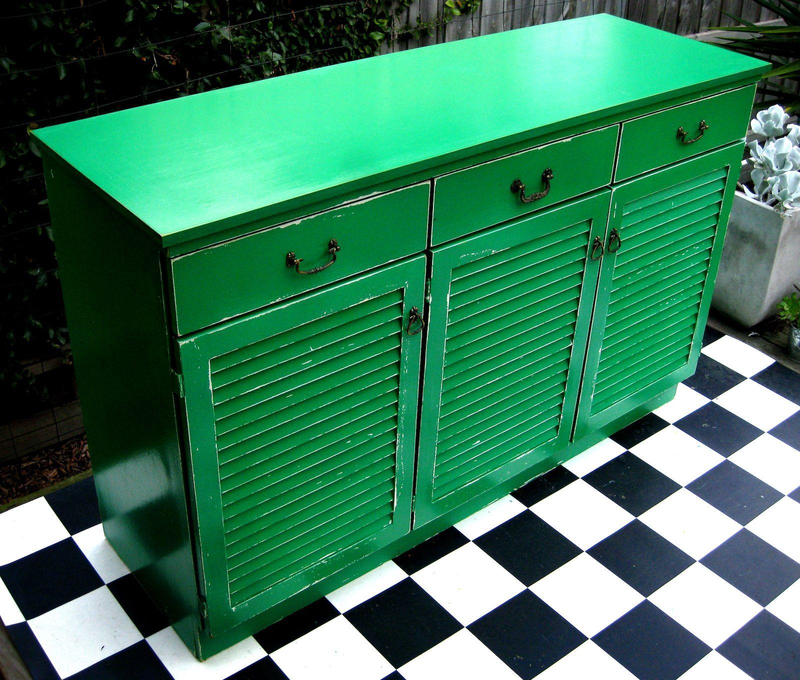 Restored Buffet with louvre cupboard doors in emerald
