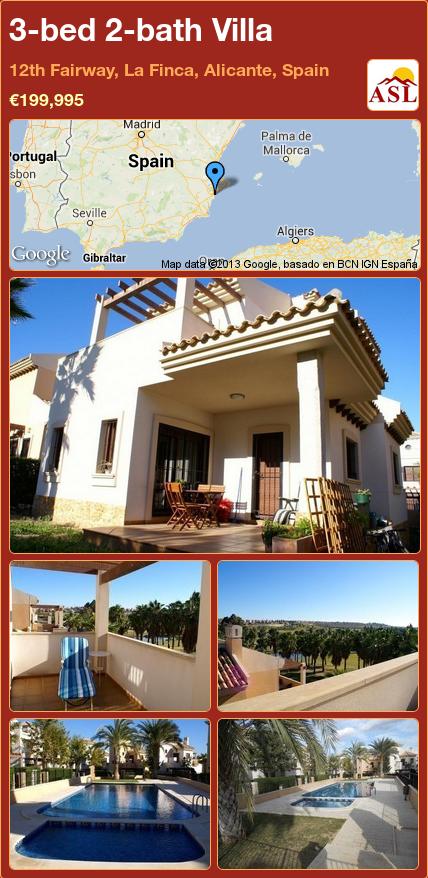 3-bed 2-bath Villa in 12th Fairway, La Finca, Alicante, Spain ►€199,995 #PropertyForSaleInSpain