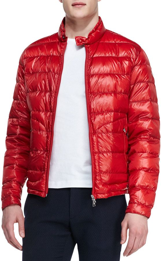 c4ba6f0ba Moncler Acorus Lightweight Puffer Jacket, Red on shopstyle.com ...