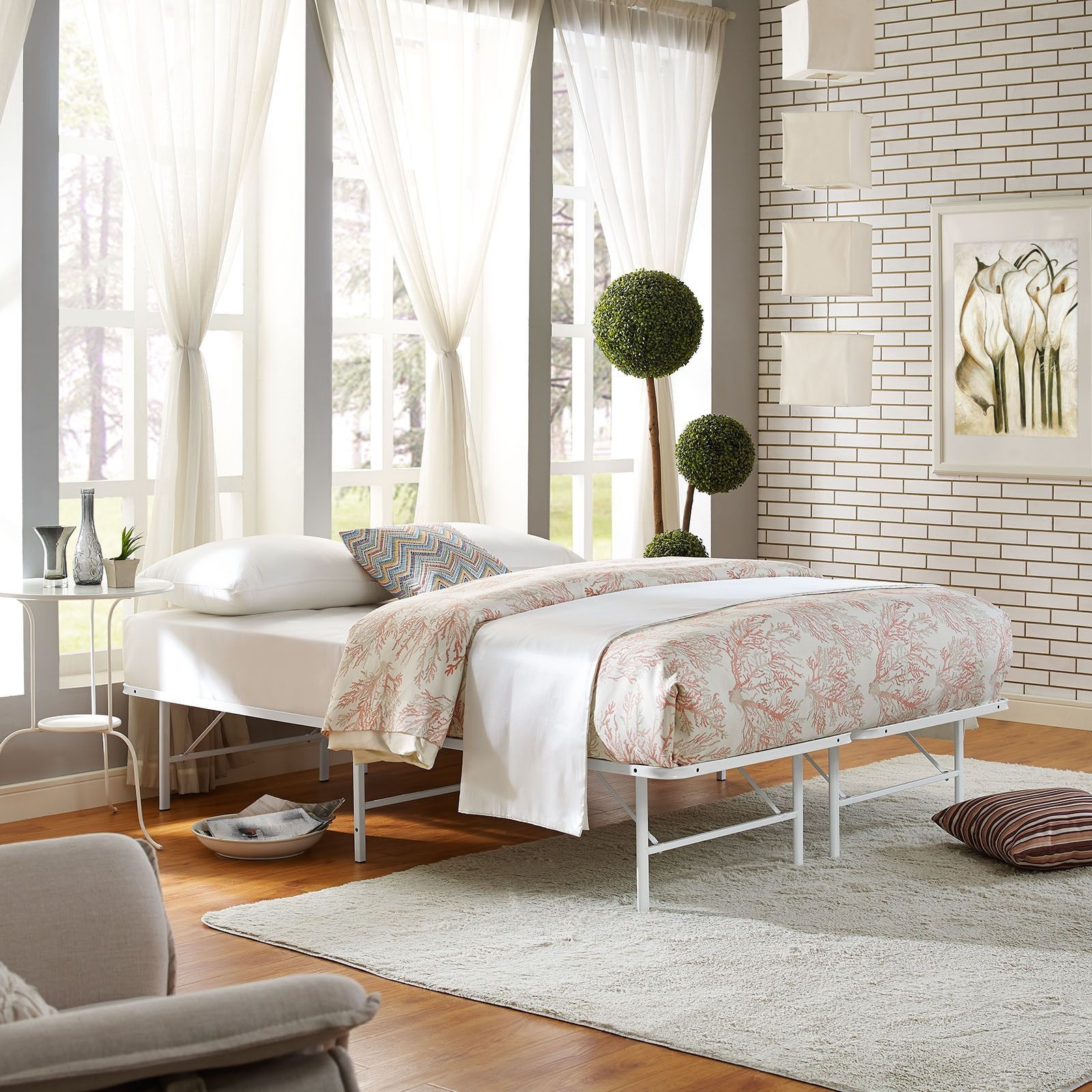 Horizon White Stainless Steel Bed Frame Full Modway Products