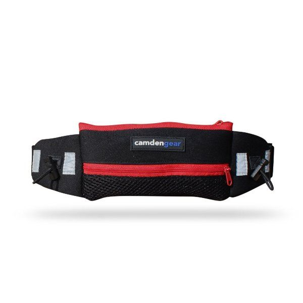 Running Belt By Camden Gear Red Runners Waist Pack For Men And Women Double Pouch With Reflective Tabs For Large Cell Ph Running Belt Neoprene Fabric Running