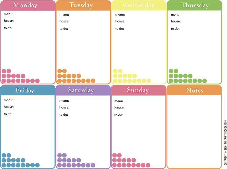 week at a glance planner printable