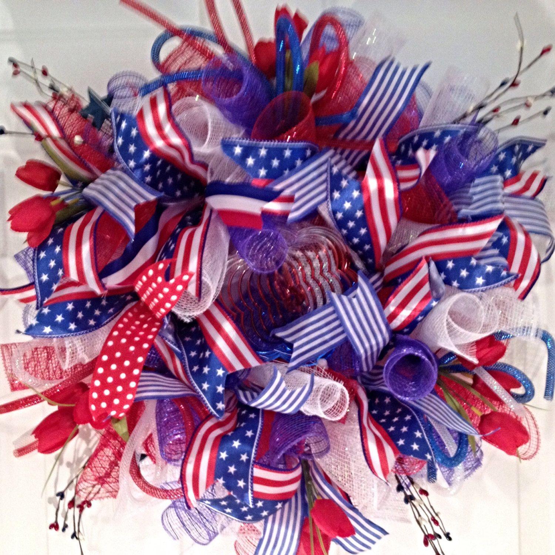 Summer Deco Mesh Wreath, Deco Mesh Wreath, Patriotic Wreath, Patriotic Deco Mesh Wreath, 4th of July Wreath by LadySlipperWreaths on Etsy