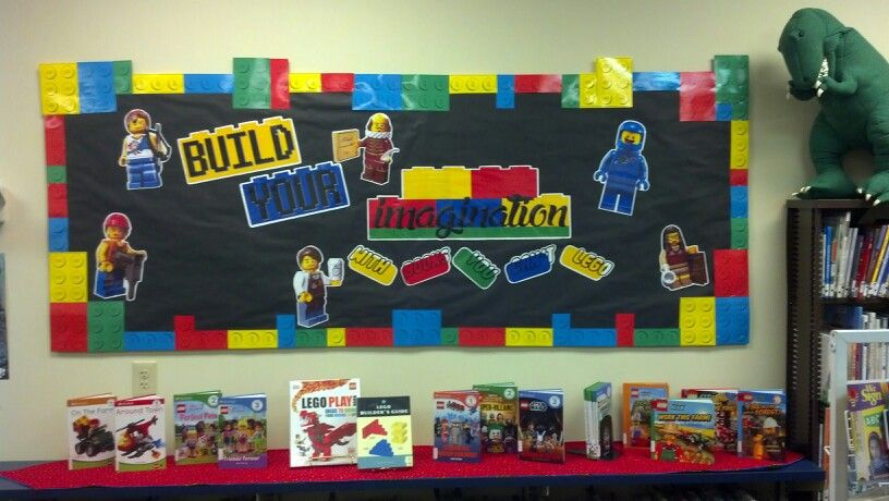 Build your imagination with books you can't LEGO. Bulletin board ...
