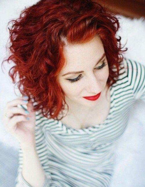 60 Most Delightful Short Wavy Hairstyles Short Curly Hair Curly Hair Styles Red Curly Hair