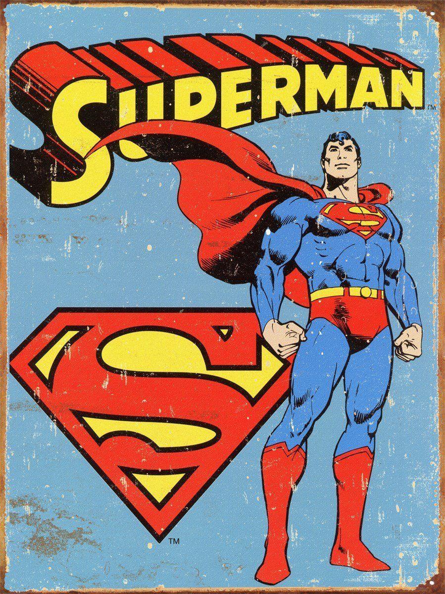 Superman Weathered Look Tin Metal Sign Comics Super Hero Super Man Classic NEW