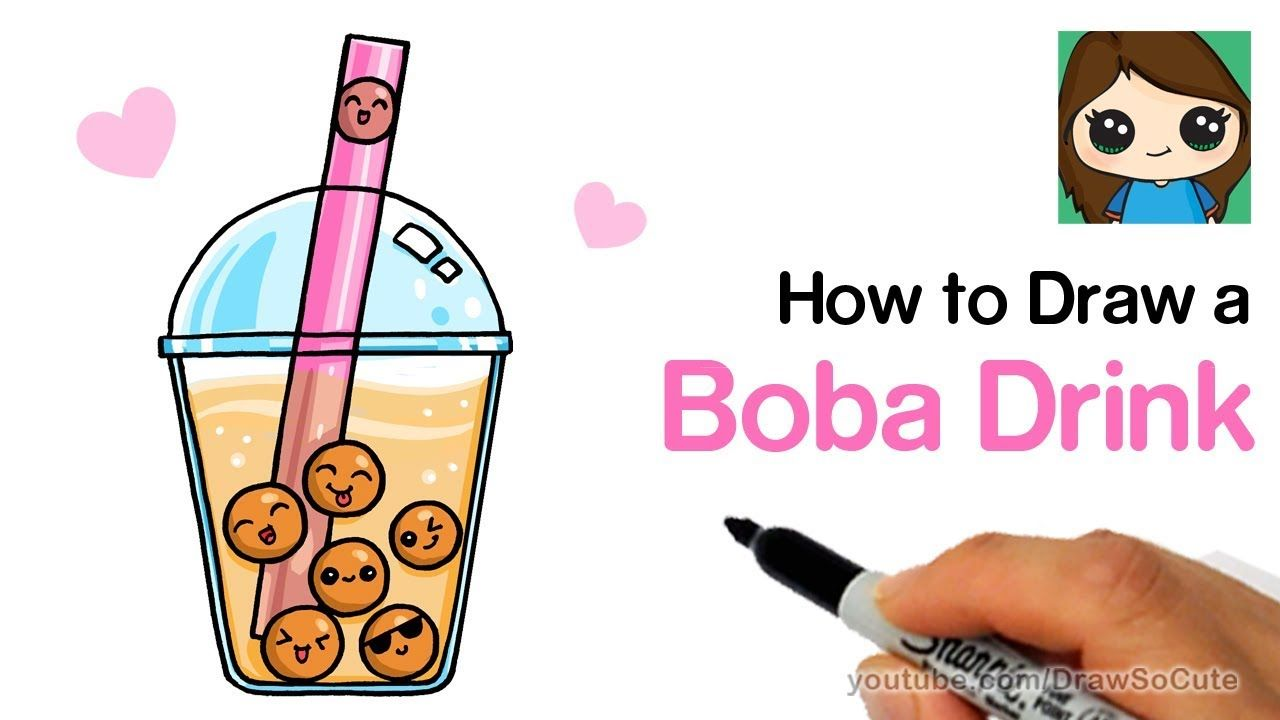 How To Draw A Boba Drink Cute And Easy Youtube Cute Food Drawings Bubble Drawing Cute Drawings