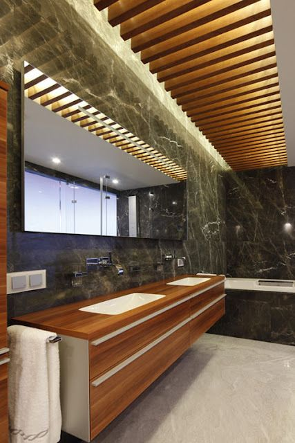 Bathroom Combining Warm Woods Black Marble With Textures Patterns Beautiful Natural Bathroom Interior Natural Bathroom Futuristic Interior