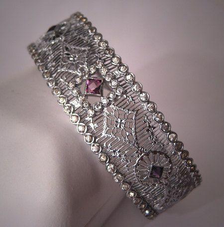 Antique Filigree Bangle Bracelet Art Deco French Paste Rhodium