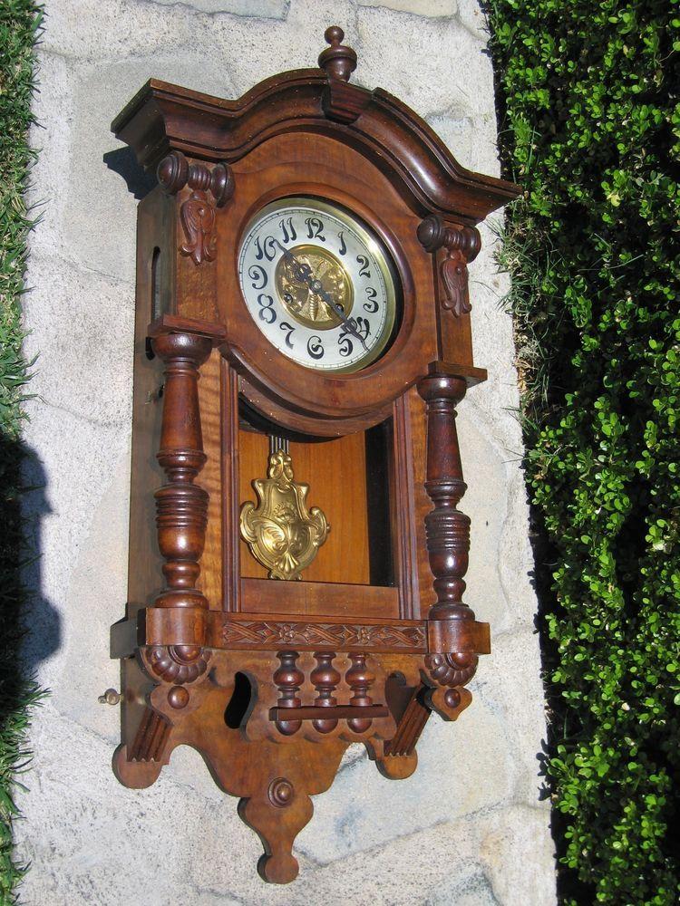 exlnt junghans german art nouveau wall clock noreserv w butterfly antique