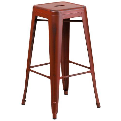Lompoc Bar Stool Blue Elephant Colour: Distressed Kelly Red, Seat Height: 76.2cm