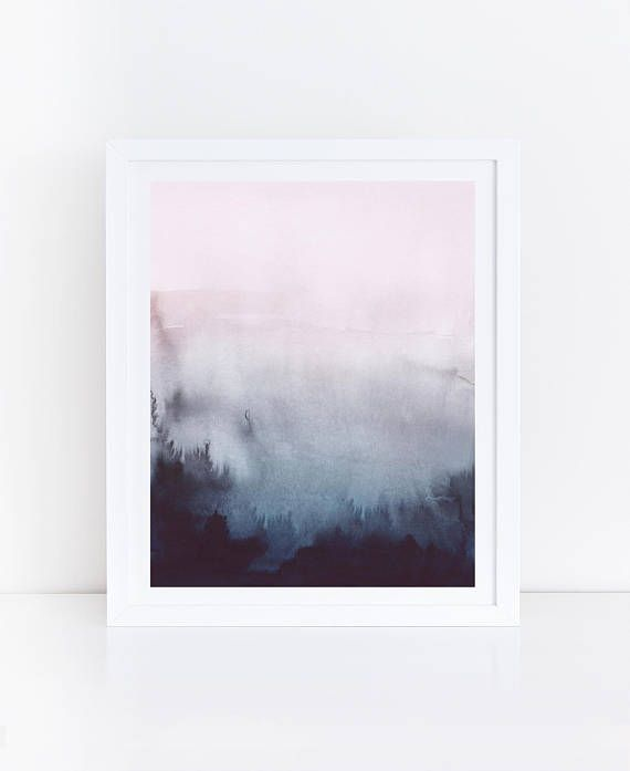 Pink Blue Abstract Art Blue Pink Watercolor Print Watercolor