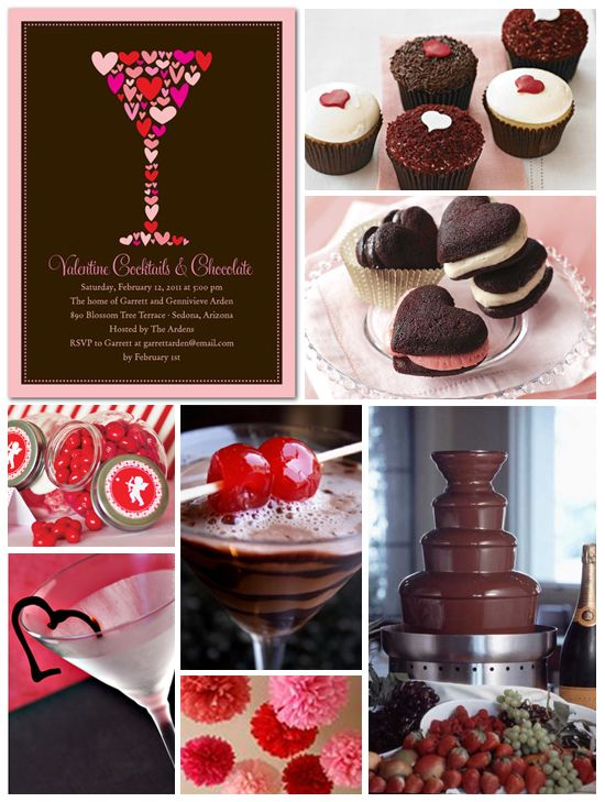 Lovely Valentine Cocktail Party Ideas Part - 3: Cocktails U0026 Chocolate: Valentineu0027s Day Party Inspiration Board