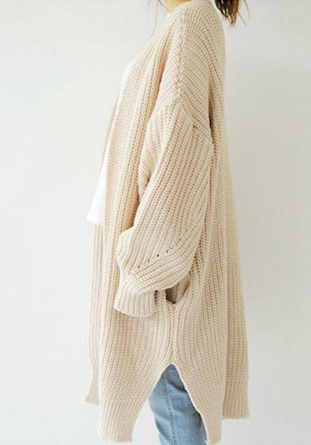 Wrap Knit Cardigan - Hidden Pockets At Sides