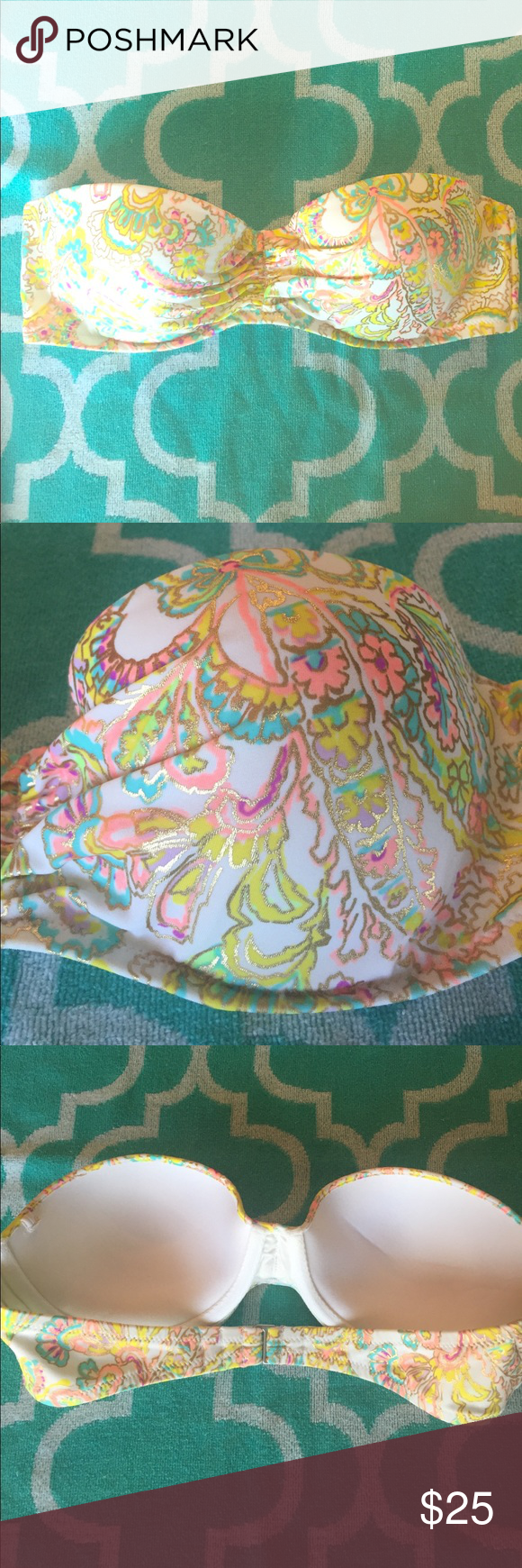 Gently Used Victoria's Secret Strapless Bikini Top Super cute and colorful paisley print Victoria's Secret Strapless underwire bikini top with gold metallic outline and pretty pops of coral, turquoise purple and yellow on a bright white background. This top does not have a tag for sizing, but I believe it is a 34B cup. I recall that it fit snug and I was a 34b-c in Victoria's Secret. The top comes with its straps and the cups have light padding for a slight push up. It is in beautiful…