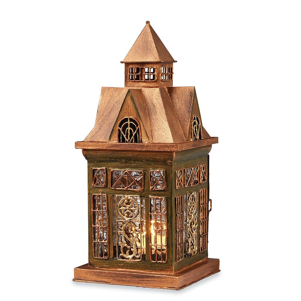 Glass and Metal Architectural Candle Lantern -Copper-Tone Patina Ellington House in Home, Furniture & DIY, Home Decor, Candle & Tea Light Holders | eBay
