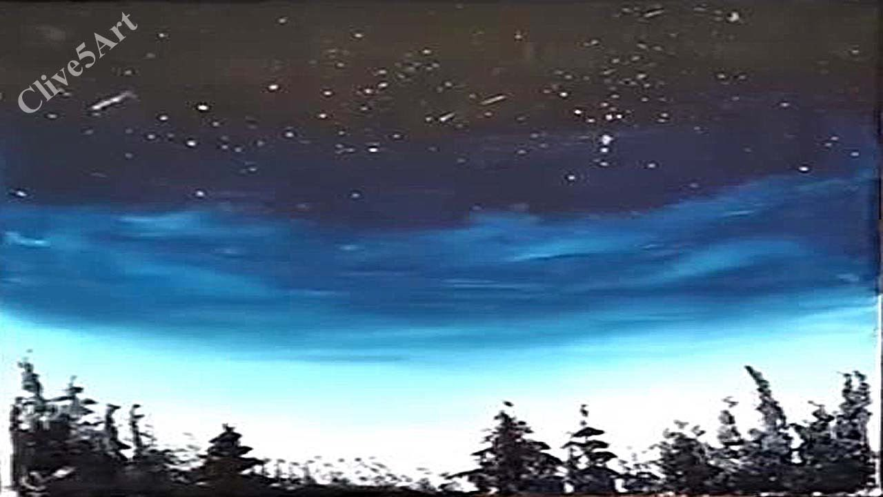 Easy Night Sky Acrylic Painting For Beginners Night Sky Painting Sky Painting Landscape Drawings